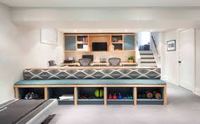 built in bench with storage basement contemporary with home office beige wall built office storage