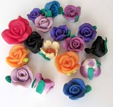 <b>17Pcs</b> Polymer <b>Clay</b> Rose Flower Beads Finding | eBay