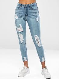 Ripped Raw Hem Jeans, Denim blue - zaful.com - imall.com