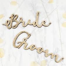 <b>Wooden</b> '<b>Bride' and 'Groom</b>' Hanging Signs | Lisa Angel