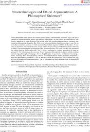 nanotechnologies and ethical argumentation a philosophical stalemate