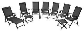 vidaXL <b>9</b>-<b>Piece Folding</b> Garden Furniture Set, Aluminium, Black ...