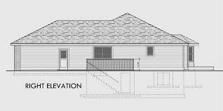 Ranch House Plan  Car Garage  Basement  StorageHouse rear elevation view for One level house plans  house plans   car