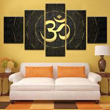 Canvas Paintings Living Room <b>Home Decor</b> 5 Pieces Buddha OM ...