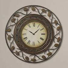 Benzara <b>Metal</b> Wall Clock with <b>Round Flower</b> Themed <b>Border</b> (<b>Metal</b> ...