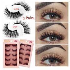 <b>5 Pairs 3D Mink</b> Eyelashes Natural Long Handmade Thick 3D False ...