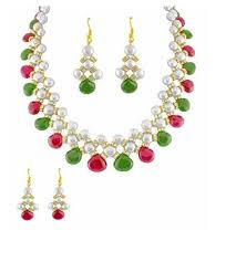 <b>Trendy</b> Souk Button <b>Fresh</b> Water <b>Pearls</b> Necklace Set, पर्ल का ...