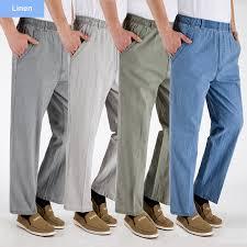 Plus size middle aged dad men pants <b>summer thin</b> cotton <b>linen</b> ...