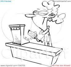 royalty rf clip art illustration of a cartoon black and royalty rf clip art illustration of a cartoon black and white outline design of a female s clerk by ron leishman