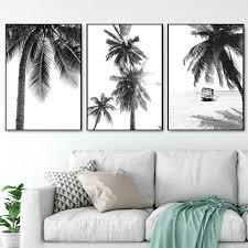 <b>Nordic</b> Tropical <b>Palm Tree</b> Canvas Painting Black White Beach ...