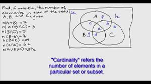 three set venn diagram region cardinalities   youtubethree set venn diagram region cardinalities