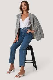 <b>Straight High Waist</b> Jeans Blue   na-kd.com