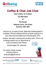 nhs coffee chat job club veterans norfolk nhs coffee chat job club