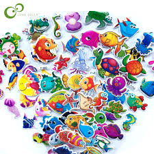 5 Sheets 3D <b>Cartoon Fish Wall Stickers</b> Kids Toys Bubble Stickers ...
