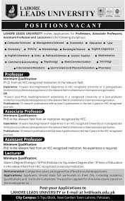 lead university jobs professor lecturer position lahore lead university jobs 2015 professor lecturer position advertisement