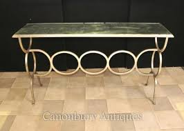 french art deco mirrored console table steel base art deco mirrored furniture