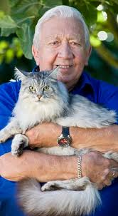 Cuddling up: Denis O'Connor with his current silver-haired cat, Luis - article-1323024-0BBA873C000005DC-553_233x423