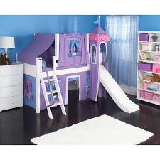 purple tent covering white stained wooden loft bed having ladder and slide placed on black ceramic ceramic purple black white