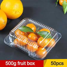 <b>50pcs</b>/<b>set</b> Safety <b>Disposable</b> Fruit Box Square <b>Clear</b> Hinged Take ...