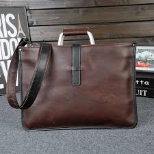 <b>Retro Men's Briefcase Crazy</b> Horse Leather Laptop Handbag ...
