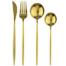 4 шт золотой набор посуды <b>18</b>/10 <b>набор столовых приборов</b> из ...