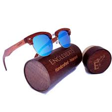 <b>100</b>% <b>Real</b> Sandalwood Sunglasses With Bamboo Case, Ice Blue ...