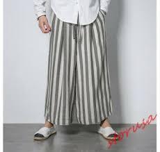 Mens Striped Wide Leg <b>Loose</b> Casual Trouser Japanese samurai ...