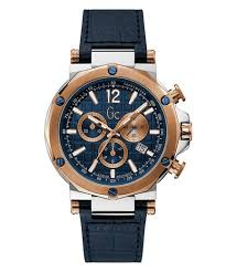 Gc Spirit Blue & <b>Rose Gold</b> with Blue <b>Leather Mens</b> Watch - Gc ...
