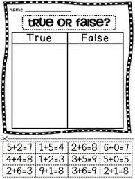 Numbers, Decomposing numbers and Cuttings on PinterestTrue or false with addition equations cut and paste