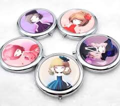 1pcs <b>Cute</b> girl <b>mini pocket makeup</b> mirror <b>cosmetic</b> compact mirrors ...