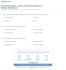quiz worksheet letters of recommendation for college print choosing references for college admissions worksheet