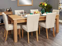 baumhaus mobel extending oak dining set with 6 cream upholstered chairs baumhaus mobel extending oak dining