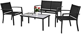 Tangkula Patio Furniture Set <b>4 PCS</b>, Tempered Glass <b>Coffee Table</b>