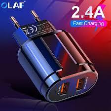 Buy <b>OLAF USB</b> Charger Dual Ports EU <b>5V 2.4A</b> Travel Wall Adapter ...