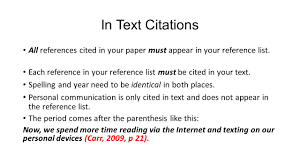 scientific journals retrieving and creating apa citations ppt in text citations all references cited in your paper must appear in your reference list