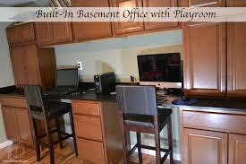 basement renovation built in office area built in office