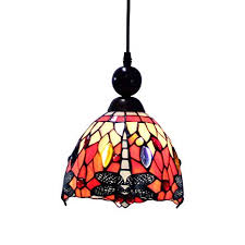 Makenier Tiffany Style Stained <b>Glass</b> Red Dragonfly Vintage Small ...