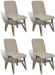 <b>Oak Indoor Fabric Dining</b> Chair Set 4 pcs Light Grey: Amazon.co.uk ...
