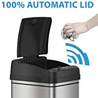 iTouchless 13 Gallon Stainless Steel Automatic <b>Trash Can</b> with Odor