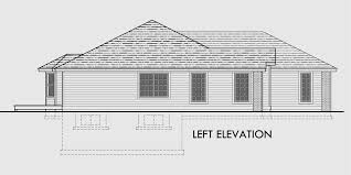 Ranch House Plan  Car Garage  Basement  StorageHouse side elevation view for One level house plans  house plans   car