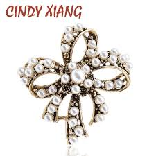CINDY XIANG <b>Vintage</b> Pearl <b>Bow Brooches</b> for Women Beautiful ...