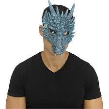 Ice Dragon Blue <b>Mask Medieval</b> Fantasy Latex Adult <b>Halloween</b> ...