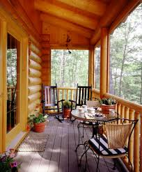 decoration attractive screen porches on log homes using transparent glass screens attached on wooden columns also attractive rod iron patio