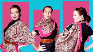 """How to wear a big silk <b>square scarf 53</b>""""x <b>53</b>"""". Large <b>silk shawl</b> tutorial ..."""