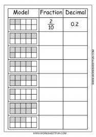 Model – Fraction – Decimal – 2 Worksheets / FREE Printable ...model fraction decimal