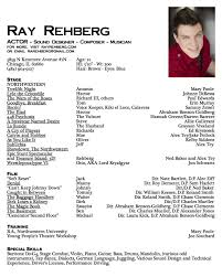 resume templates for actors  seangarrette cosample resume template actor ray rehberg sound designer   resume templates