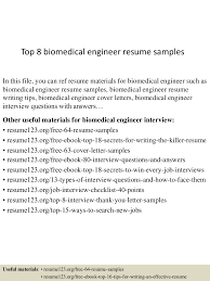 top  biomedical engineer resume samples