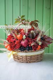 Подарочная цветочная корзина в русском стиле с яблоками и ...