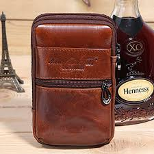 New Men Oil Wax <b>Genuine Leather Vintage Travel</b> Hiking Cell ...