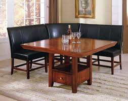 elegant square black mahogany dining table: dining room square brown high gloss finish dining table combined with l shaped brown stained